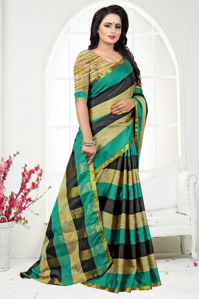 YOYO Fashion Latest Fancy Dupion Green Saree $ SARI2578 Green