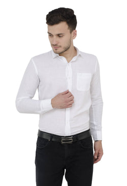 Baluchi Solid Regular Full Sleeve Linnen White Formal Shirt $ BLC_MNSHIRT_02