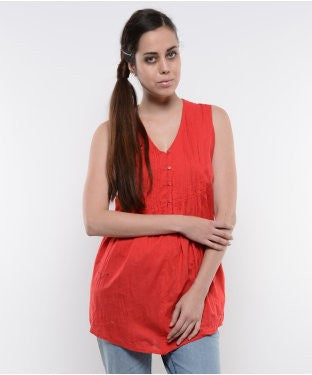ENTEASE RED COTTON TUNIC