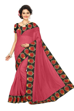 16to60trendz Magenta Chanderi Lace Work Chanderi Saree $ SVT00254
