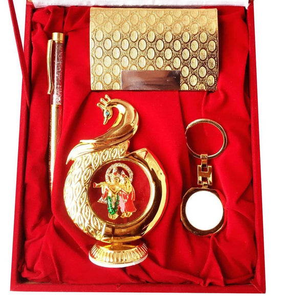 Gold Plated Ball Pen with Visiting Card Holder with Key Ring and Peacock Shape Radha Krishna Car Dashboard and Home Temple with Velvet Box $ IGSPBR101056