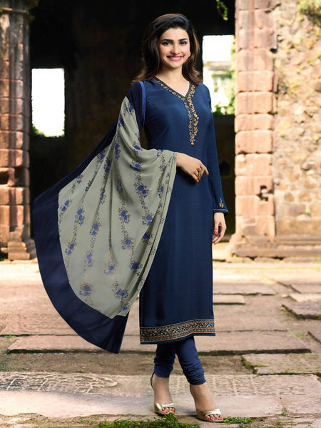 YOYO Fashion Blue Crepe Straight Semi-Stitched Salwar Suit With Dupatta $ F1290