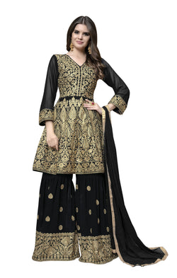 YOYO Fashion Black Faux Georgette Anarkali Palazzo & YO-F1314-Black