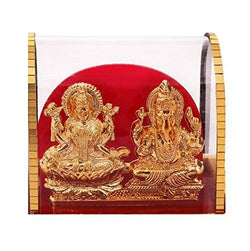 Gold Plated Lord Ganesh & Maa Lakshmi Acrylic Idol/Hindu God Ganpathi & Goddess Laxmi Pooja Mandir/Car Dashboard/Office Tabel $ IGSPBR101031