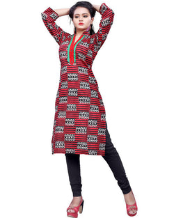 Muta Fashions Women's Stitched Polyster Cotton Red Knee length kurta $ KURTI405