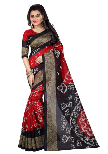 16TO60TRENDZ Red Color Printed Bhagalpuri Silk Saree $ SVT00427