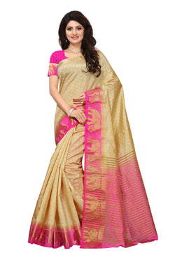 16to60trendz Beige and Pink Tusar Silk Handloom Art Work Kanjivaram saree $ SVT00009