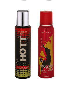 HOTT Mens SWHITE AMBERGGER & Naughty Girl FASHION - (Set of 2, No Gas Deodorant for Couple) (150ml each)
