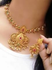 Gold Plated Alloy Metal Hand Crafted Work Women's Mor Kundan Necklace set $ AF788642