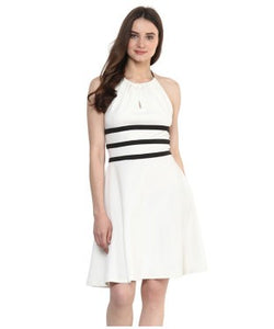 Miway Off White Solid A-Line Dress
