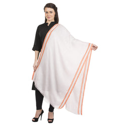 La Vastraa's Silver Zari Border Orange Modal Silk Stole for Women-TKS161