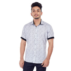 EVOQ White Printed Shirt With Contrasting Collar Band And Sleeve Band-Scratch Attack - Black_Wite