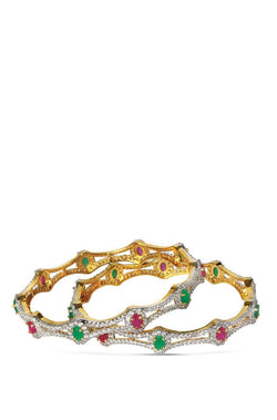 Bauble Burst Colour-n-Crystal Bangle Set