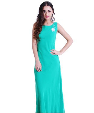 Drapes & Silhouettes Green Semi Stitched Gown