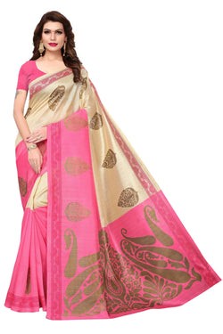 16TO60TRENDZ Pink Color Printed Bhagalpuri Silk Saree $ SVT00451