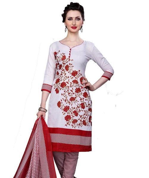 Minu Suits White Cotton Salwar Suits Sets Dress Material Freesize,Redbeauty16_16011