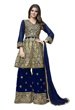 YOYO Fashion Blue Faux Georgette Anarkali Palazzo & YO-F1314-Blue
