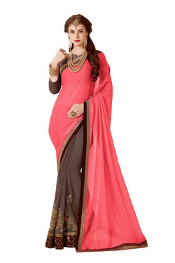 Muta Fashions Women's Unstitched Georgette Light Pink Saree $ MUTA1423