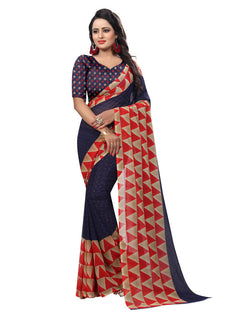 Muta Fashions Women's Unstitched Georgette Navy Blue Saree $ MUTA1553