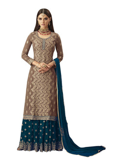 YOYO Fashion Nylon Net Straight Semi-Stitched salwar suit $F1297-Turquoise