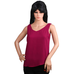Fashiontiara Chiffon V neck Top & Tunic Sleeveless casual wear Small Size women girls $ FTT162