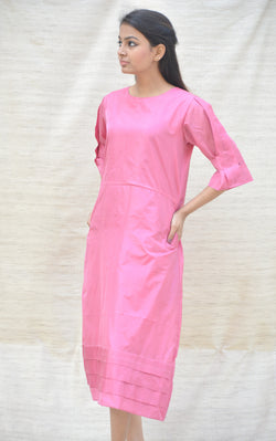 Pink A-line Khadi silk tunic with Pleated Sleeves $ IWK-000479