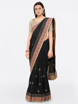 Umang NX Black Raw Silk Designer Embroidery Sarees $ UN5561