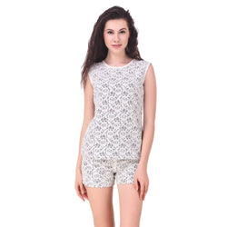 Fame16 Sleeveless Floral Women'S Round Neck White Lace Top $ F16-1600198