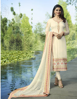 YOYO Fashion White Georgette Straight Semi-Stitched Salwar Suit With Dupatta $ F1281