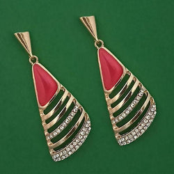 Tanishka Fashion Gold Plated Pota Stone And Austrian Stone Enamel Earrings $ 1314604A