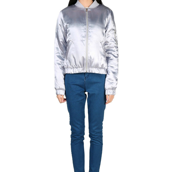 London Rag Women's Metallic Grey Jacket-CL7098