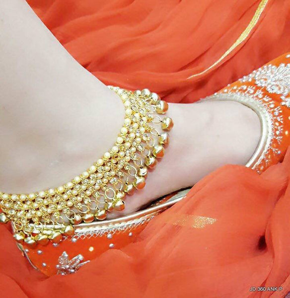 Kundan Work Gold Plated Alloy Metal Yellow Ghunghroo $ AF788610