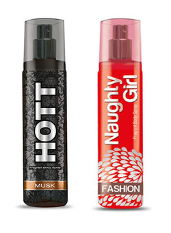 HOTT Mens MUSK & Naughty Girl FASHION- (Set of 2 Perfume for Couple) (135ml each)