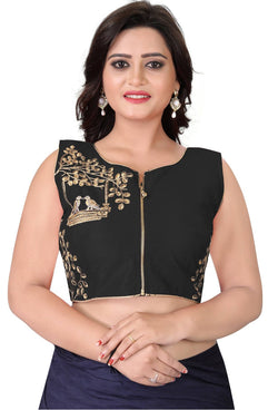 YOYO Fashion Black Malbari Embriodered Extra Sleeve With Blouse $ YOYO1-BL4008-Black