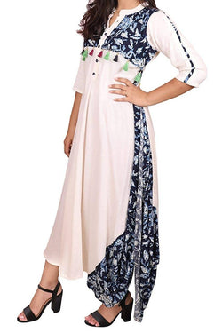 Libas Closet Fashion Printed Designer Rayon Tassels Floor Length Gown Western wear A-Line Dress for Women/Girls- Latest Bollywood Readymade Western Dress Collection (Full Stiched) $ Libas Closet-026