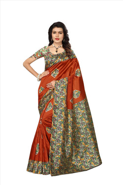 BL Enterprise Women's Bhagalpuri Cotton Silk Kalamkari Orange Color Saree With Blouse Piece $ BLLB-39