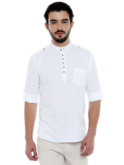 Roller Fashions Men's Solid Casual White Kurta Shirt $ C3SY0W-P