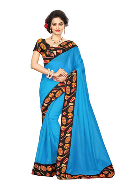 16to60trendz Sky Blue Chanderi Lace Work Chanderi Saree $ SVT00238
