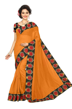 16to60trendz Mustard Chanderi Lace Work Chanderi Saree $ SVT00256