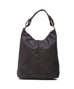 Fiona Trends Black PU Shoulder Bag,6605_BLACK