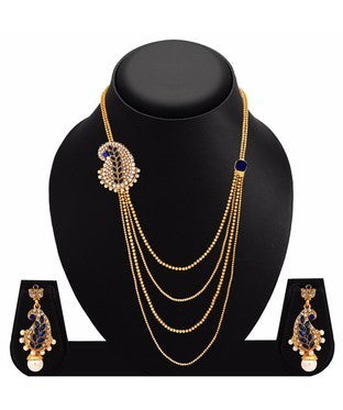 Sukkhi Eye-Catchy Peacock Four Strings Gold Plated AD Necklace Set For Women