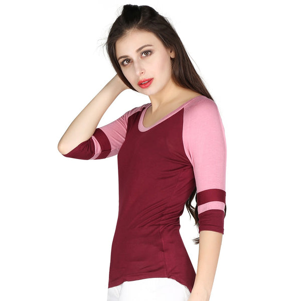 London Rag Womens Round Neck Rib Wine Color Top-CL7239