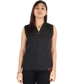 Fashion Tiara Women's Black Polyester Tops $ FTT154