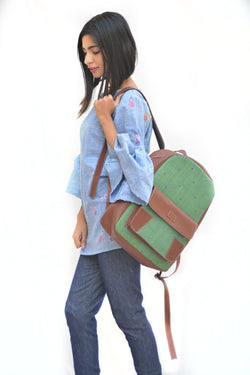 Khadi and Leatherite Polka Dot Embroidery Green Laptop Bag $ IWK-LPBAG-02
