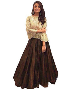 Muta Fashions Women's Semi Stitched Bangalori Silk Brown Lehenga $ LEHENGA77