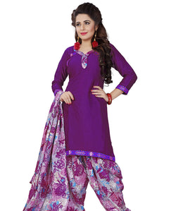 Minu Suits Purple Cotton Salwar Suits Sets Dress Material Freesize,Satinpatyala_6008