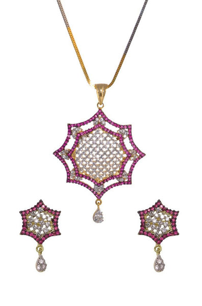 Ruby Octagon Pendant Set - JCHCPES1912