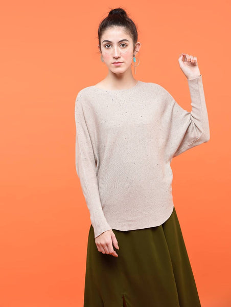 Aiyra Beige Color Wollen Dolman sleeved embellished top $ AR15801670_Free