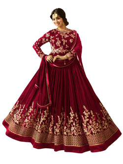 Semi-stitched Designer Faux Georgette heavy Embroidred and Hand work Anarkali Suit $F1196-Red