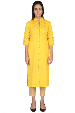 Vaniya Women Cotton Kurta Yellow Solid Kurti $ VN-K104